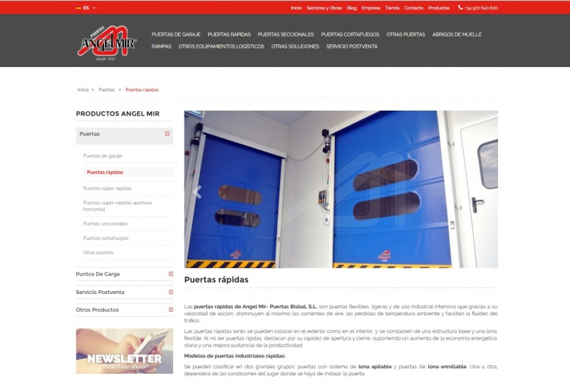 Angel Mir - New web site by the industrial door and logistic specialist
